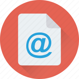 arroba, email, file, message, sheet icon