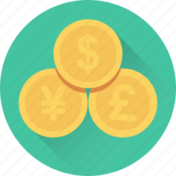 coins, currency, dollar, pound, yen icon