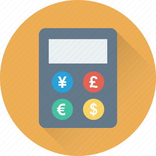 calculator, currency symbol, math, pound, yen icon