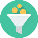 dollar, filter, funnel, money exchange, money filter icon