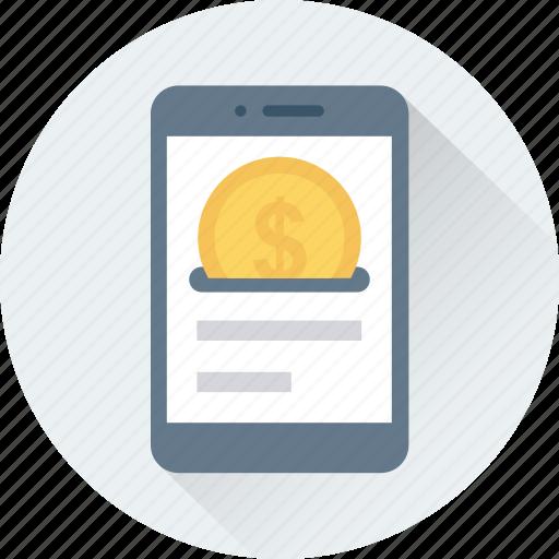 coin, dollar, mobile, saving icon