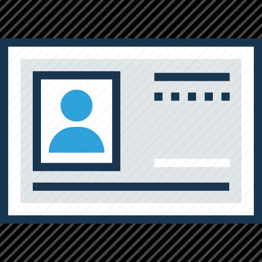 business card, id card, identity card, profile, profile card icon