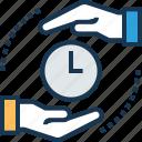 borrow, clock, duration, estimation, take time icon