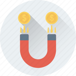 coin, dollar, finance, magnet, marketing icon