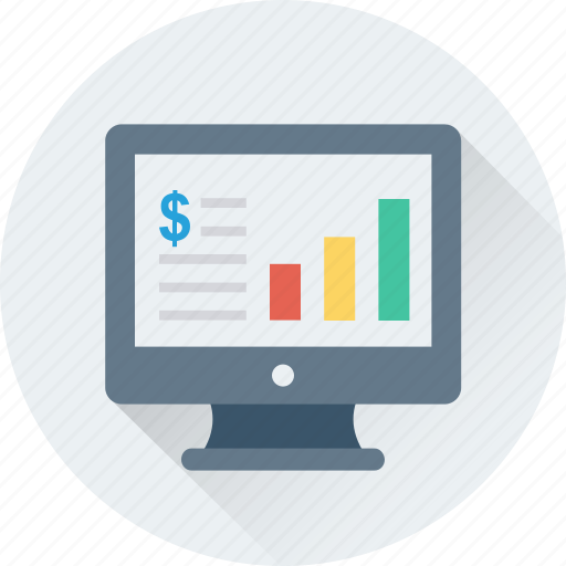 bar graph, business graph, graph, monitor, online graph icon
