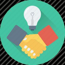 business idea, development, handshake, idea, partnership icon