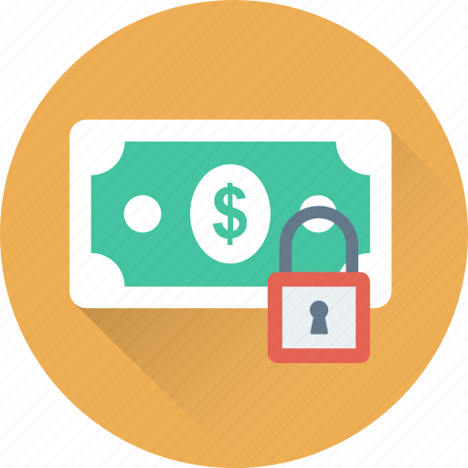 lock, padlock, papermony, secure banking, security icon