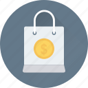 bag, dollar, shopper bag, shopping, shopping bag icon