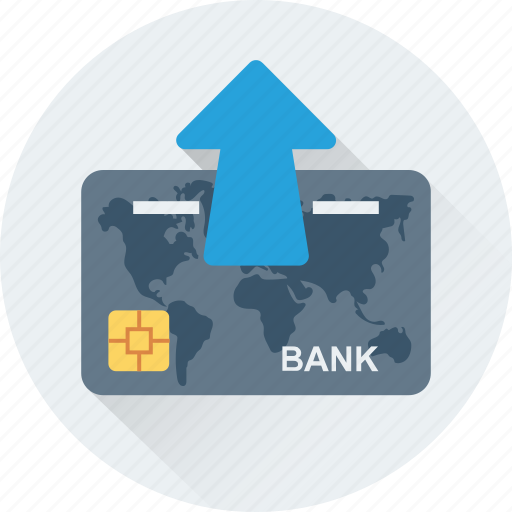 bank card, cash card, credit card, plastic money, uparrow icon