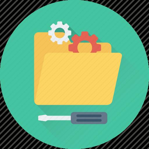cogs, data settings, folder, preferences, screwdriver icon