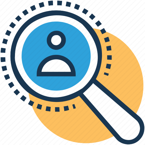 find user, magnifier, magnifying, profile, recruitment icon