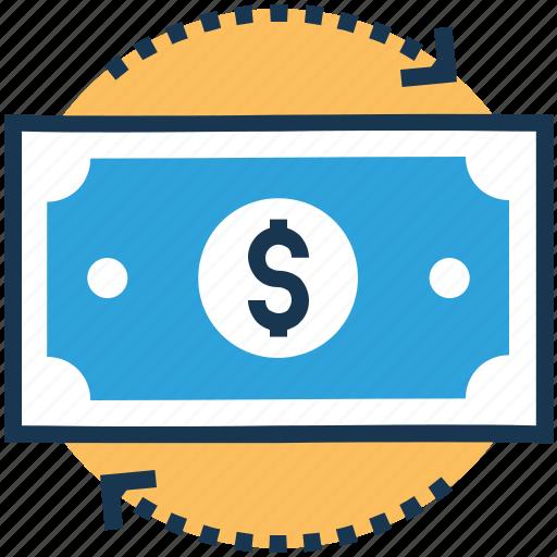 cash flow, dollar, money, paper money, paper note icon