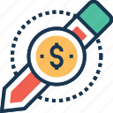 compose, dollar, paid article, pencil, promo article icon