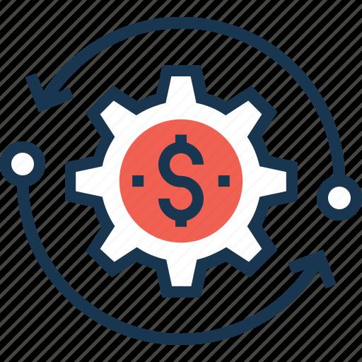 automated earning, business, cogwheel, dollar, earning icon