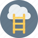 achievement, cloud computing, cloud hosting, ladder, networking icon