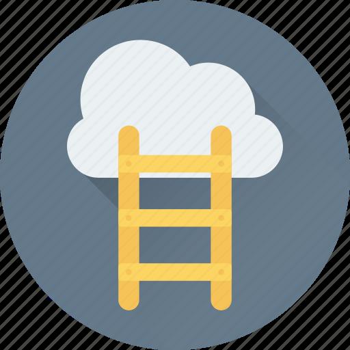achievement, cloud computing, cloud hosting, ladder, networking icon