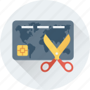 credit card, cut, expired card, scissors, shear icon