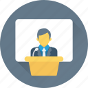 lecture, male, public speaker, seminar, teacher icon