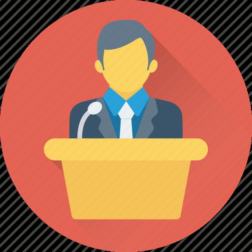 lecture, male, public speaker, seminar, teacher icon