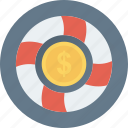 coin, dollar, life belt, money protection, protection icon