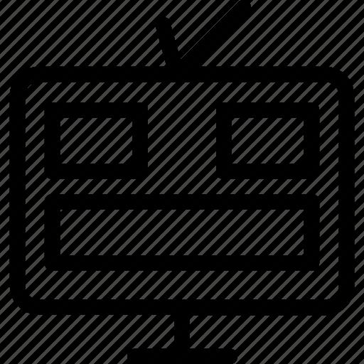 layout, television, tv, tv set, vintage tv icon