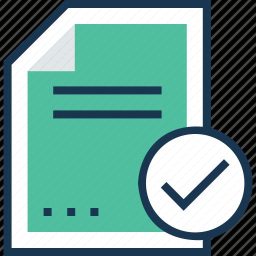 document, sheet, success mark, text sheet, tick icon