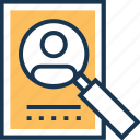 employee hunting, find user, magnifier, magnifying, recruitment icon