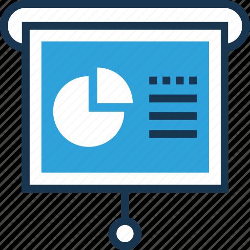 flipchart, graph presentation, note, pie graph, presentation icon