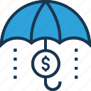 dollar, funds protection, insurance, protection, umbrella icon