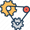 chain, cog chain, combination, integration, work chain icon