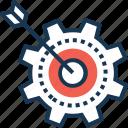 aim, bullseye, cogwheel, target, targeted campaign icon