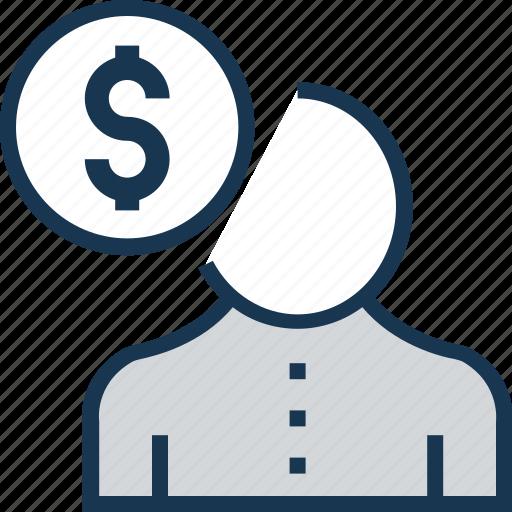 accountant, businessman, employee cost, financier, investor icon