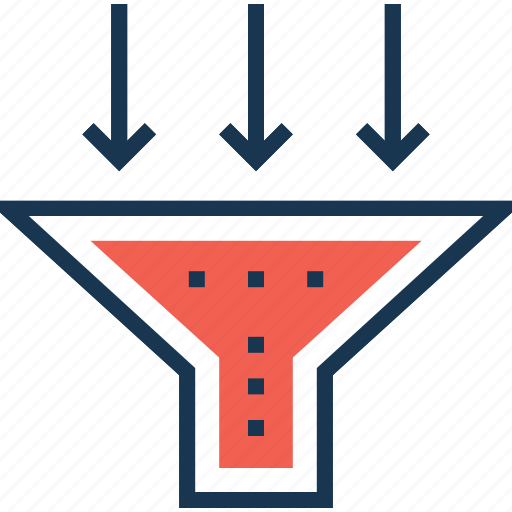 cone, filter, filtering method, funnel, strainer icon