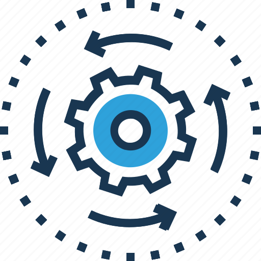 action, cogwheel, generator, initiator, processing icon