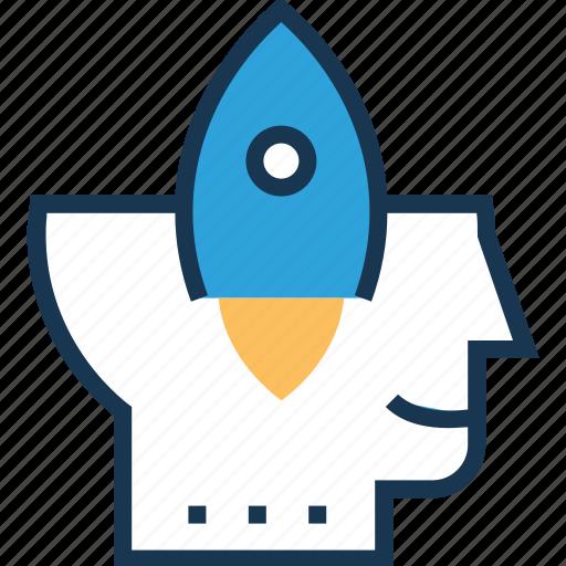idea develop, idea generation, launch idea, rocket, spaceship icon