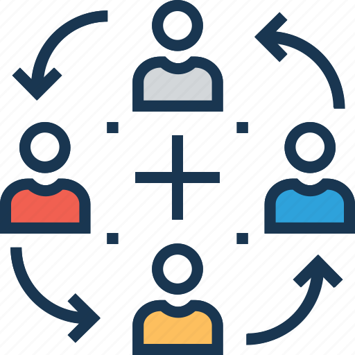 employees, group, information flow, relationship, team icon