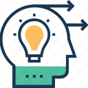 convey, forward thinking, generate idea, idea moving, idea transfer icon