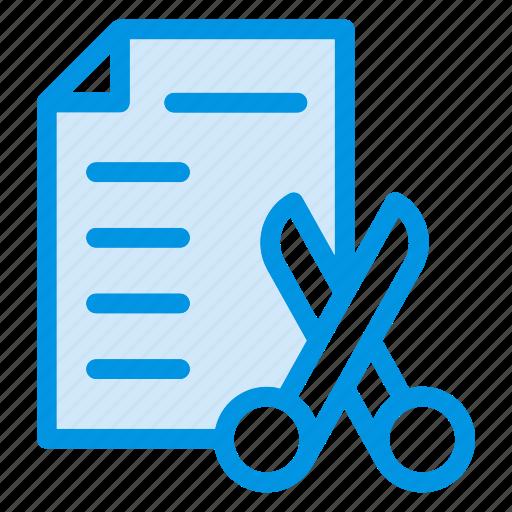 cut, cv, file, scissor icon