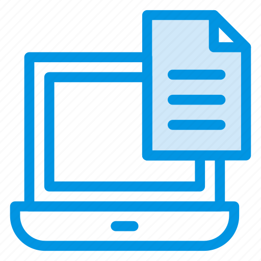 cv, document, file, laptop, page icon