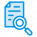 document, file, magnifyingglass, page, scan, search icon