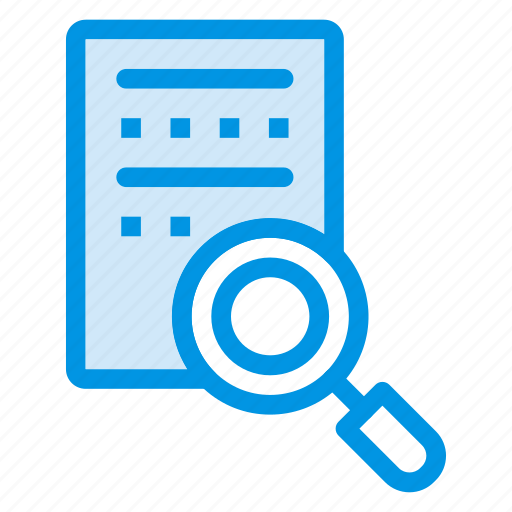 document, file, magnifier, page, search icon
