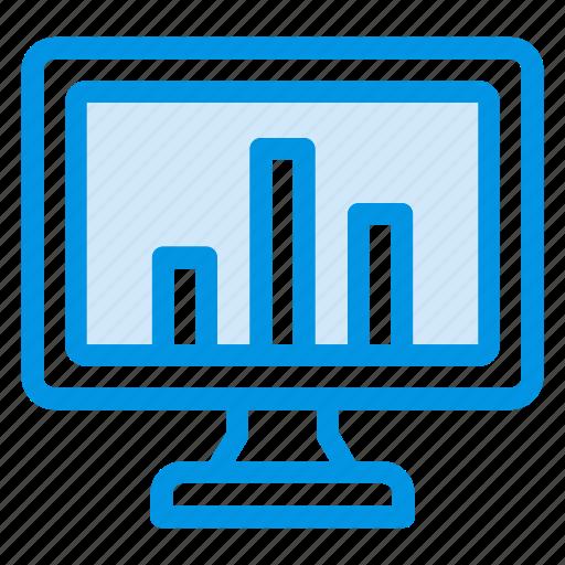 analytics, chart, graph, screen icon