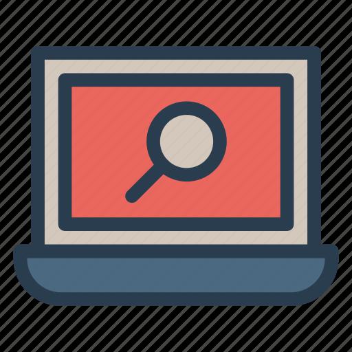 analysis, laptop, magnifir, search icon