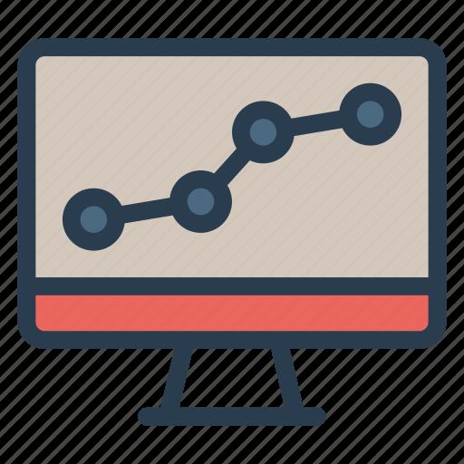 analytics, charts, report, screen, statistics icon