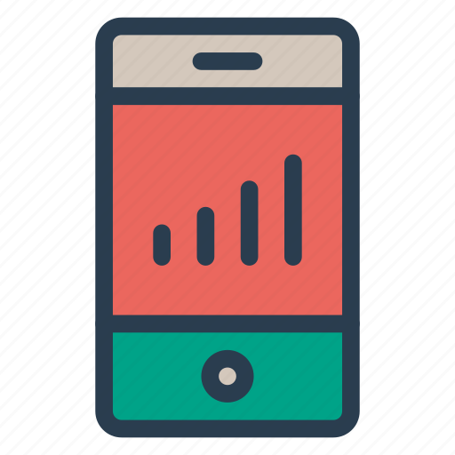 analytics, graph, mobile, phone, report icon
