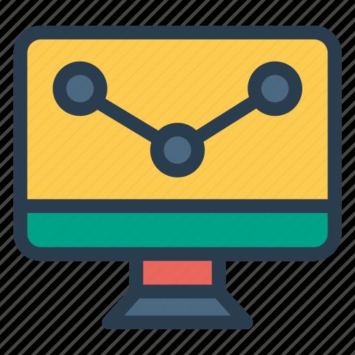 analytics, graph, report, screen, statistics icon