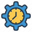 clock, config, gear, schedule, settings icon