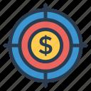 aim, dollar, goal, target icon