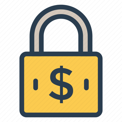dollar, lock, protection, safety icon