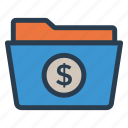 files, finance, folder, money icon